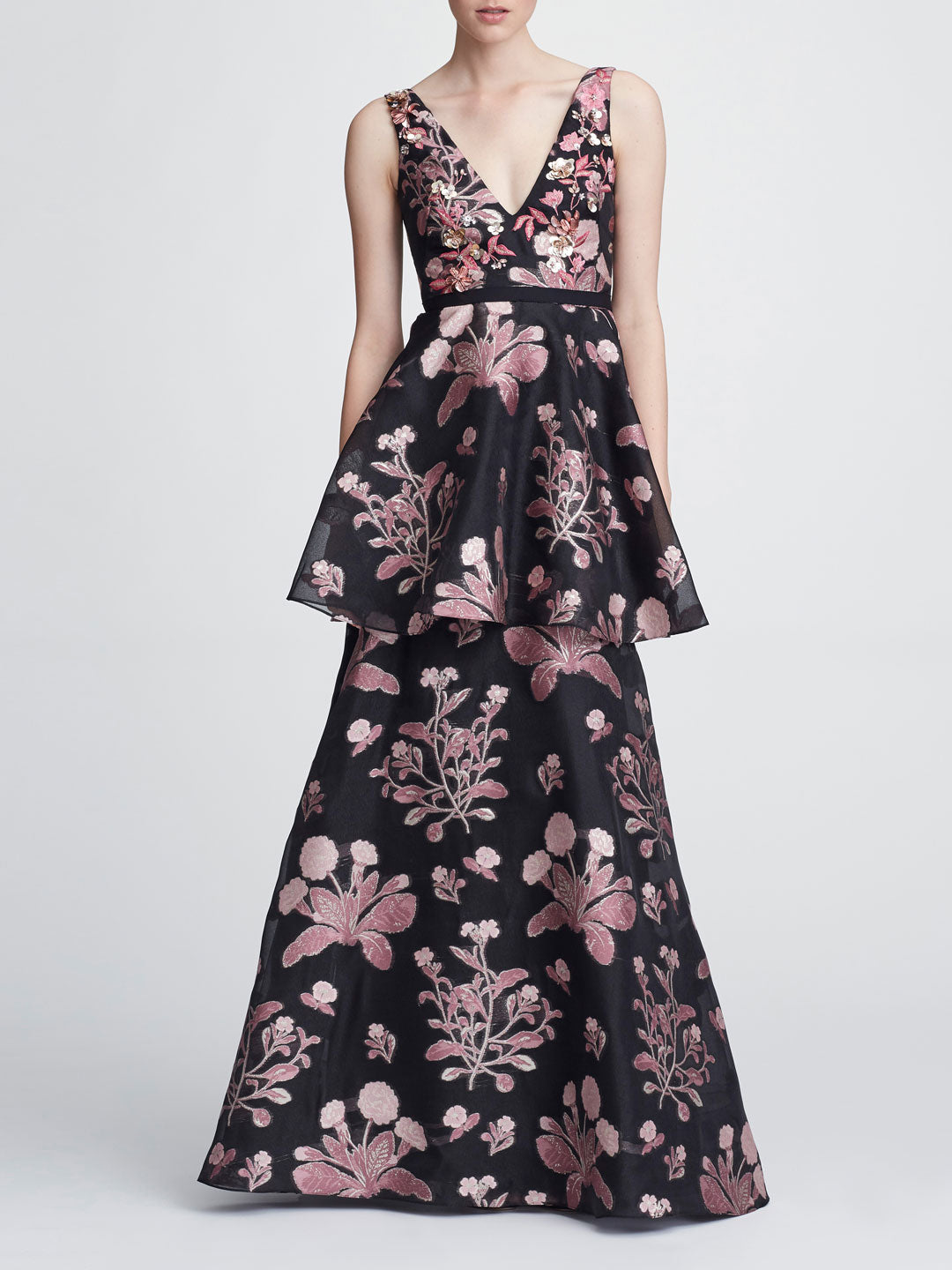 Sleeveless V-neck 3D Floral Gown