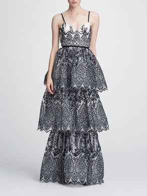 Sleeveless Eyelet Organza Gown