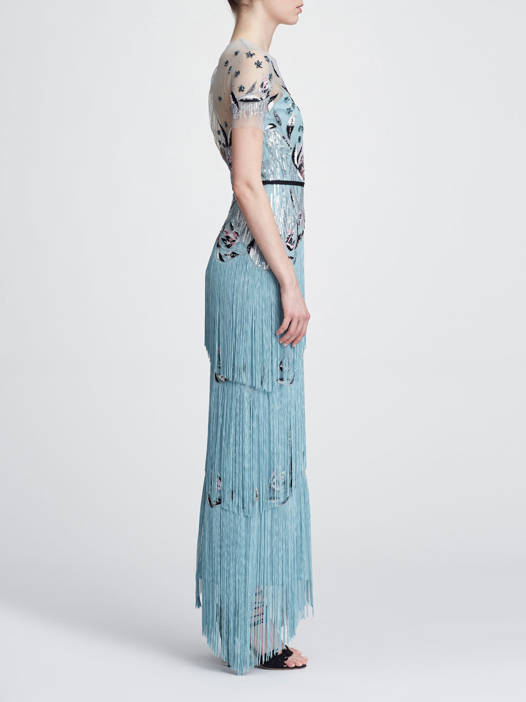 Short sleeve fringe gown