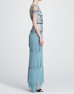 Load image into Gallery viewer, Short sleeve fringe gown