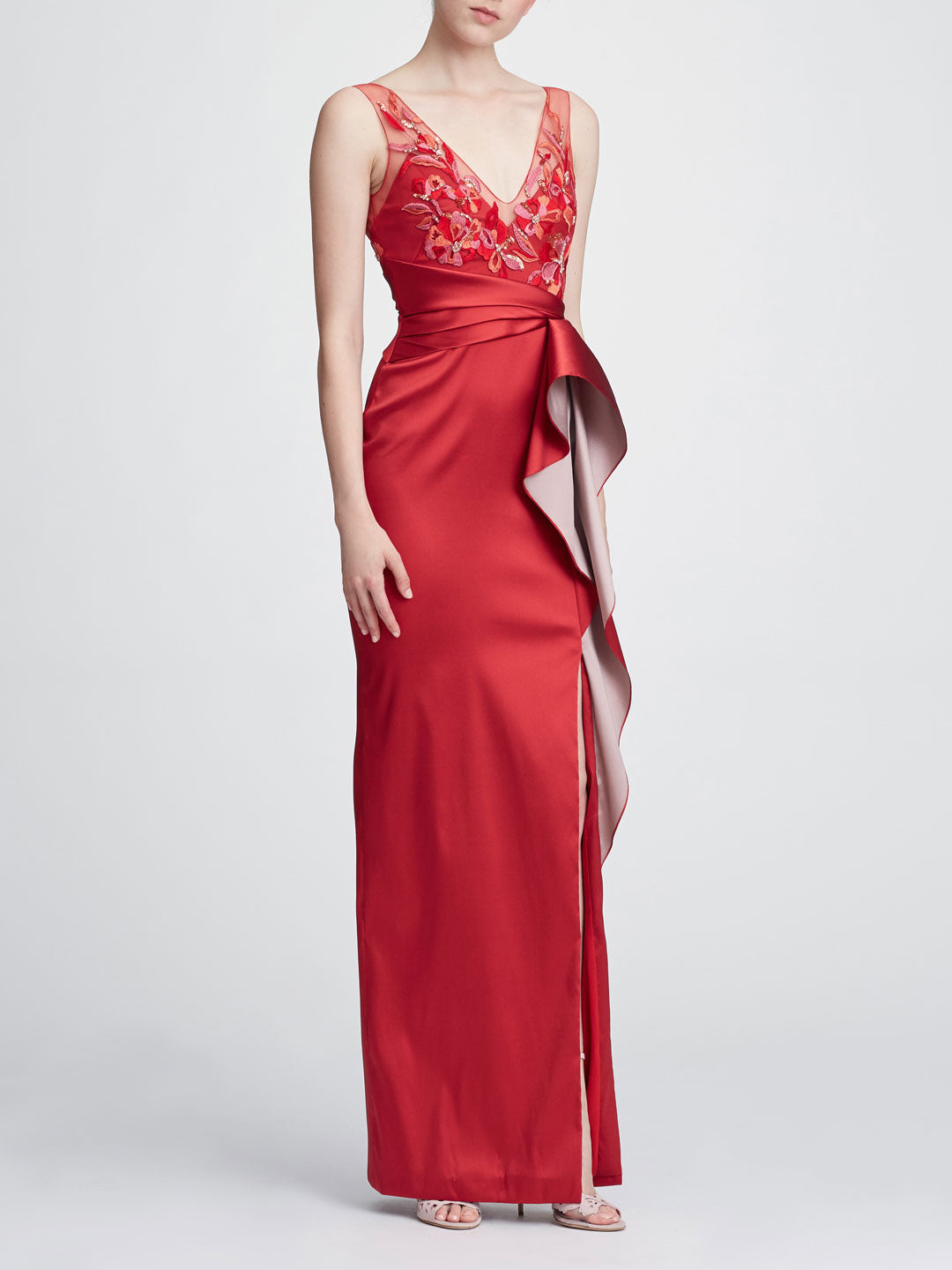 Sleeveless two-toned column gown