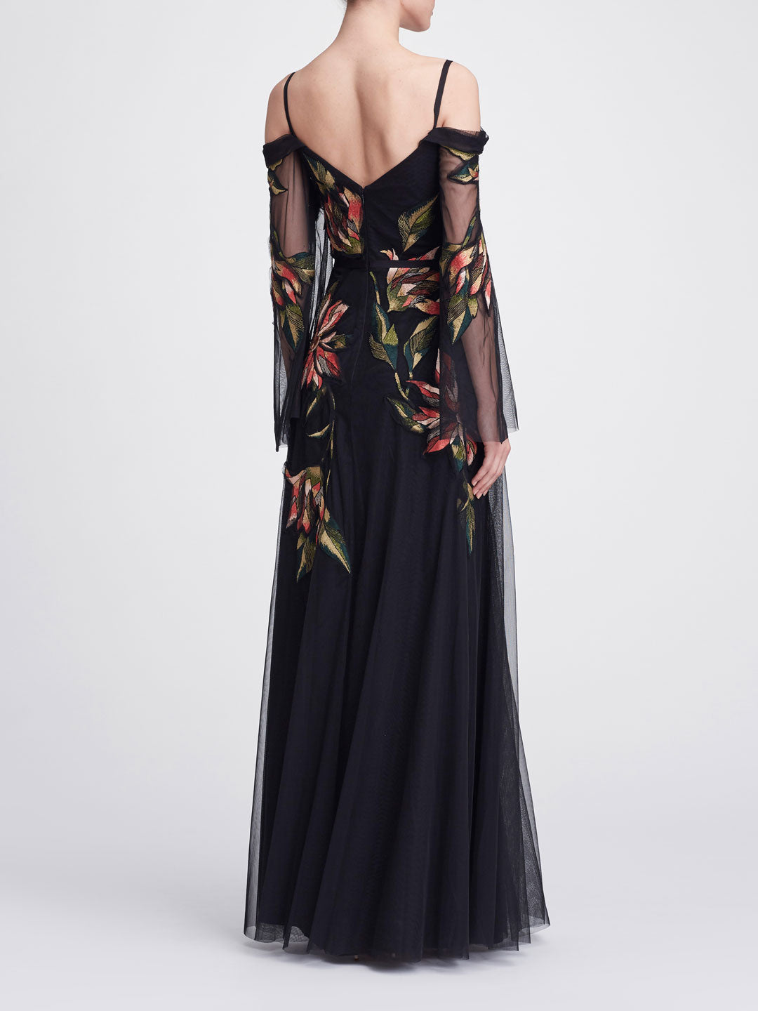 Cold shoulder floral gown