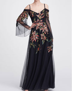 Load image into Gallery viewer, Cold shoulder floral gown