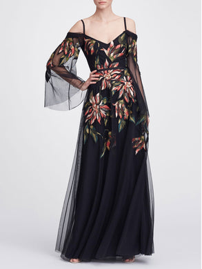 Cold-Shoulder Floral Gown