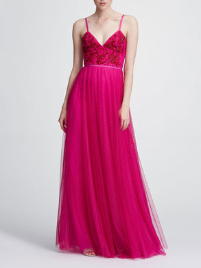 Strapless beaded embellished gown