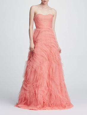 Strapless tulle draped bodice gown