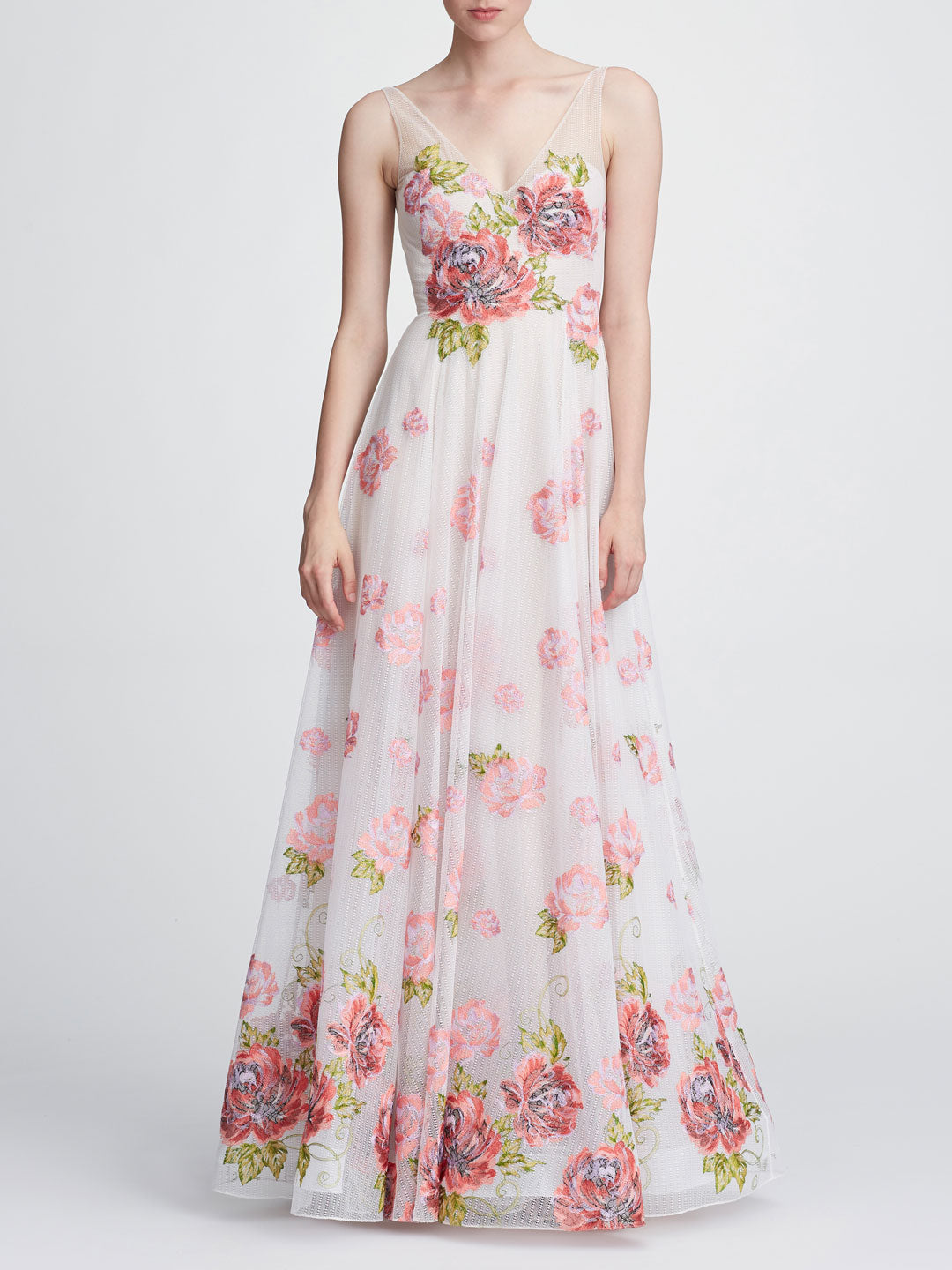 9a38d7ec Load image into Gallery viewer, V-neck sleeveless gown ...