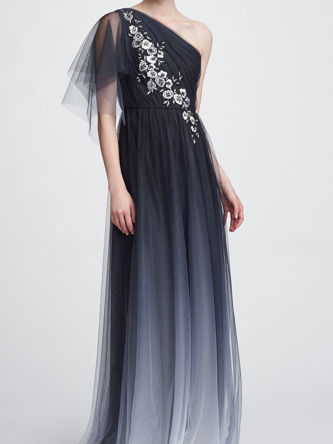One-Shoulder Printed Tulle Gown