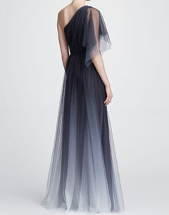 Load image into Gallery viewer, One shoulder printed tulle gown