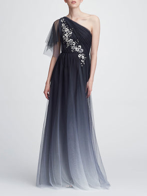 One Shoulder Printed Tulle Gown