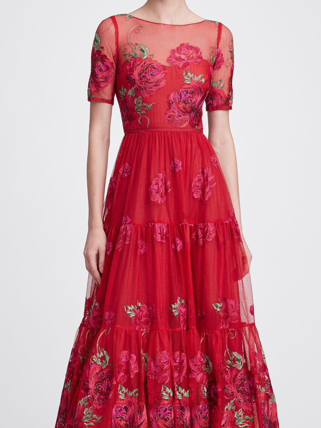 Short sleeve tea-length gown