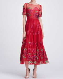 Load image into Gallery viewer, Short sleeve tea-length gown