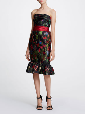 Strapless Printed Floral Cocktail