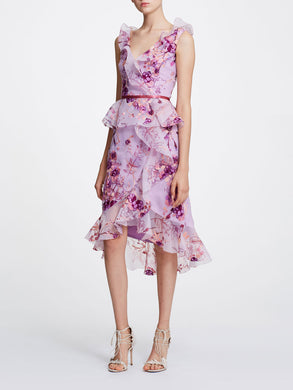 Sleeveless V-neck Printed Organza Cocktail