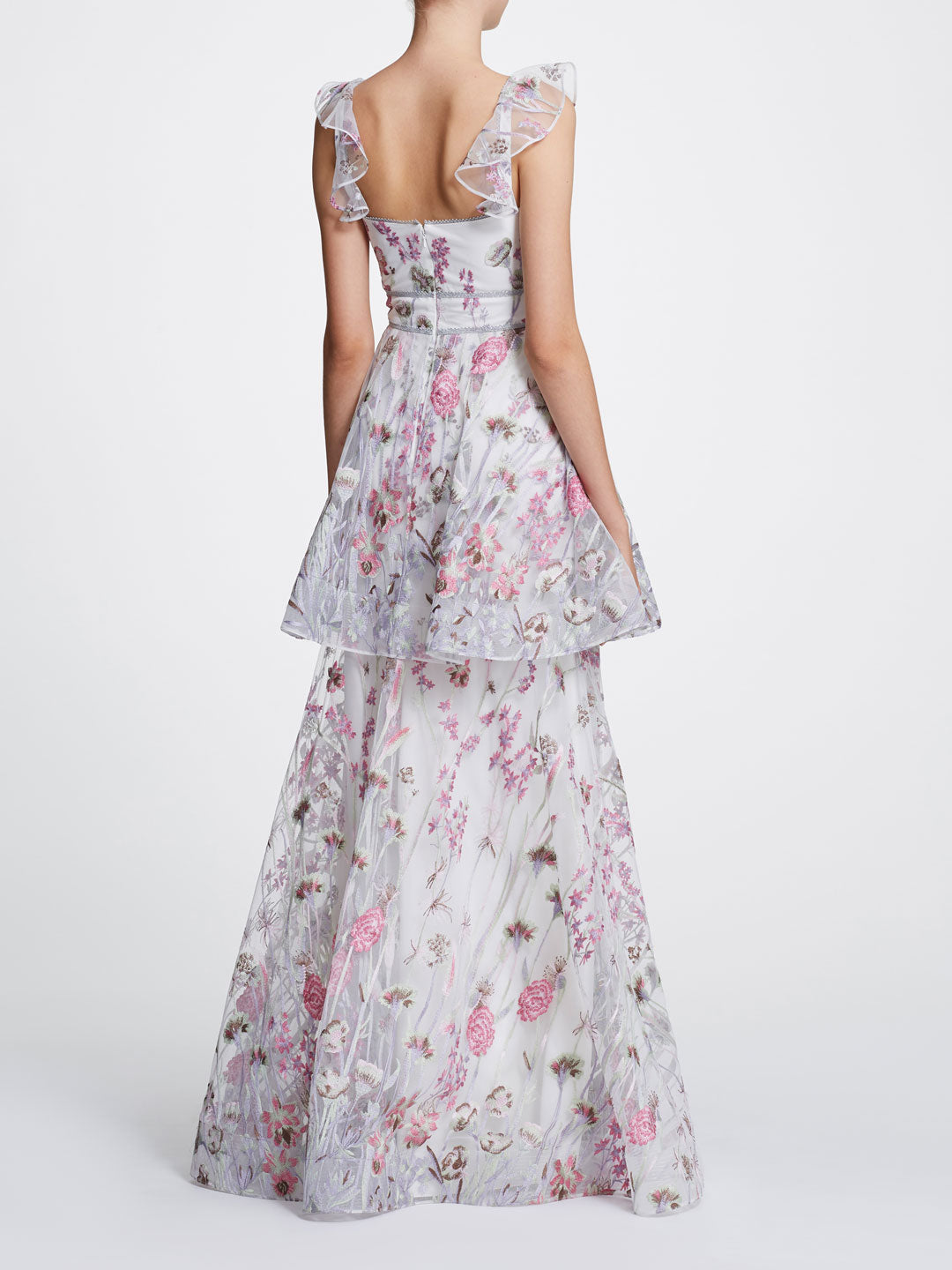 Sleeveless V-neck Floral Tiered Gown