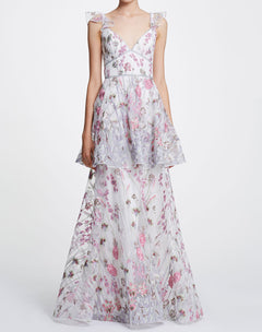 Load image into Gallery viewer, Sleeveless V-neck floral tiered gown