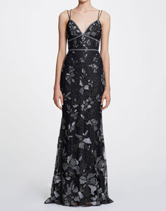 Load image into Gallery viewer, Sleeveless V-neck metallic gown