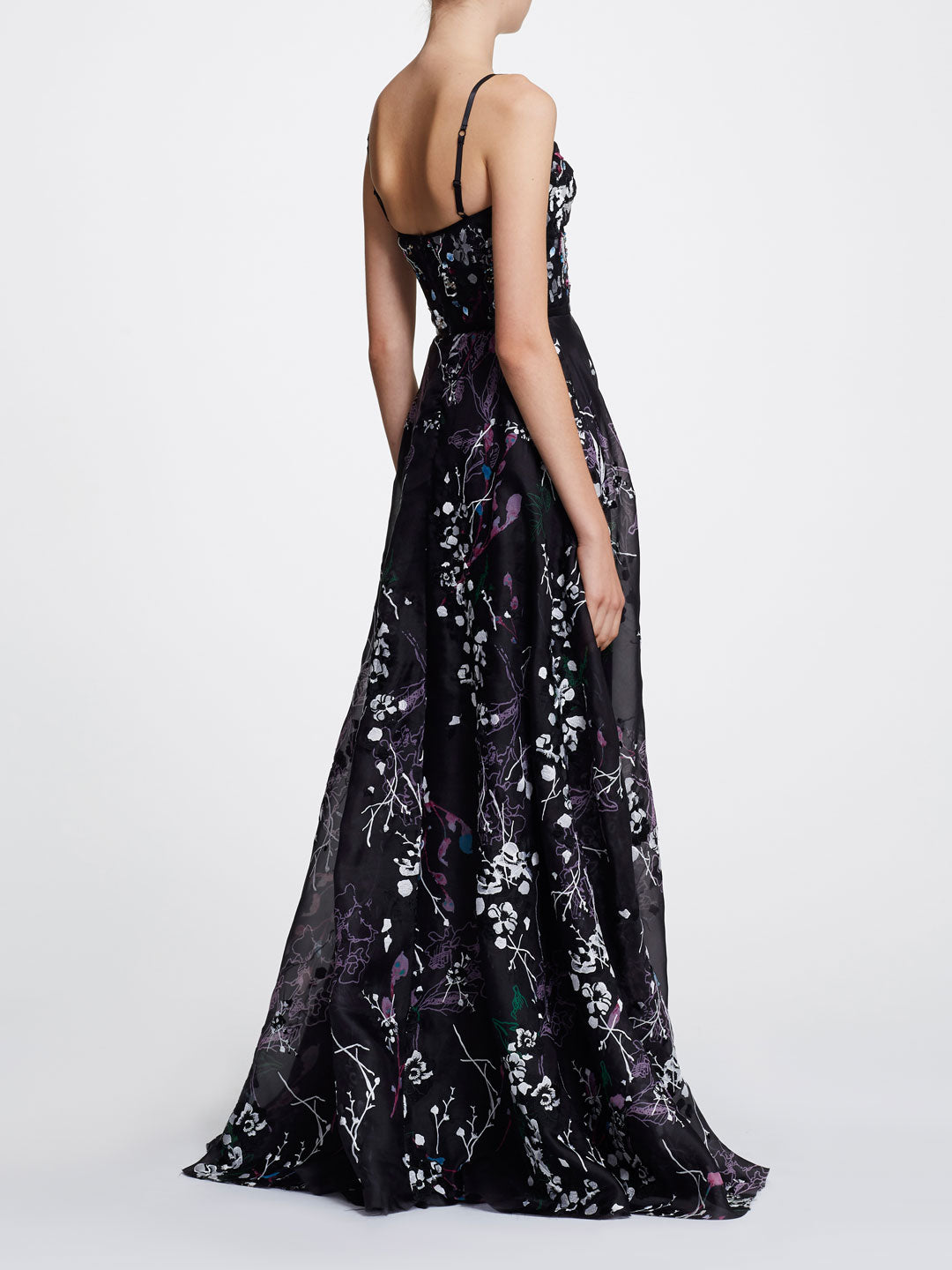 Sleeveless V-neck Printed Organza Gown