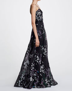 Load image into Gallery viewer, Sleeveless V-neck Printed Organza Gown