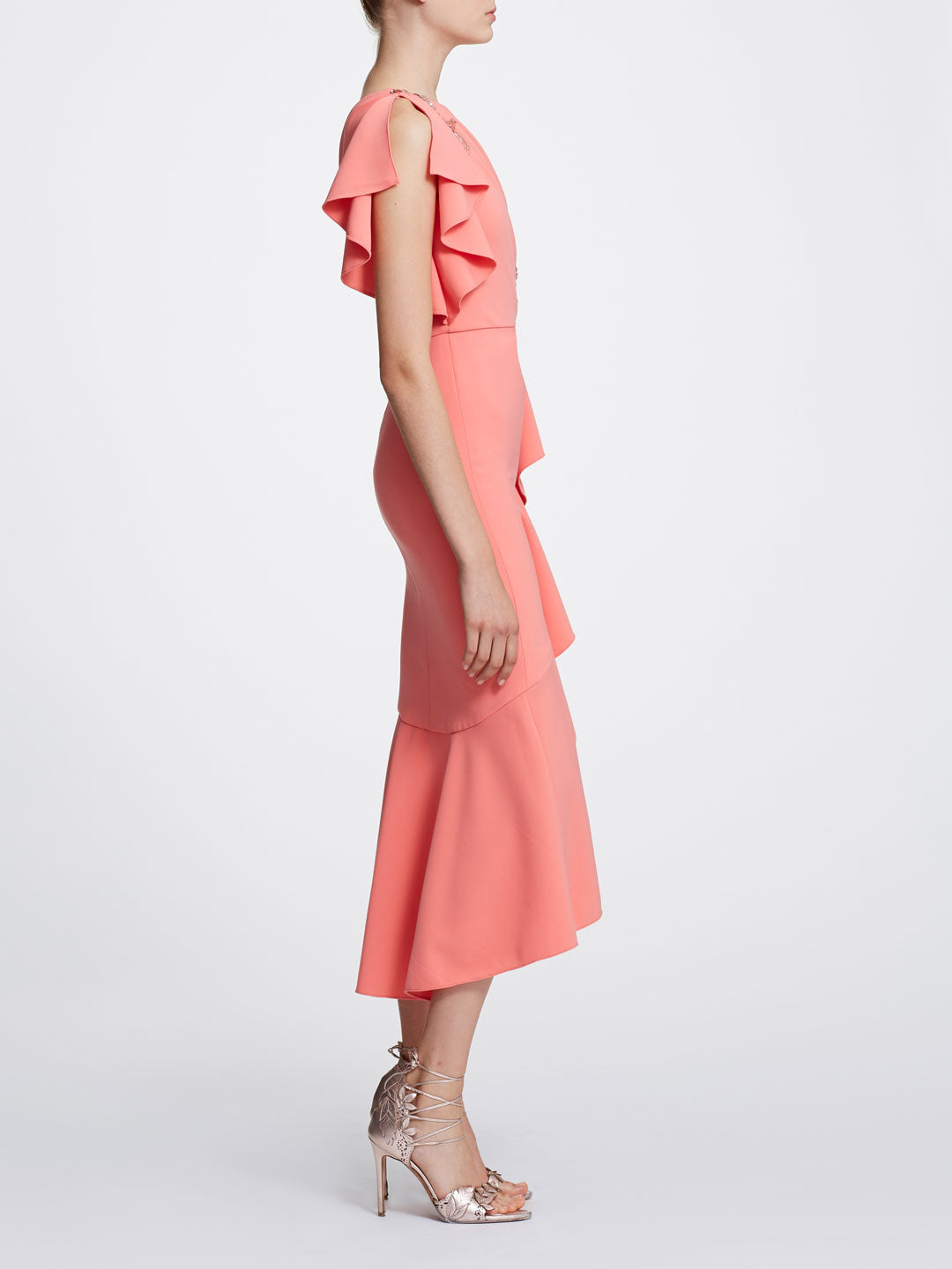 One Shoulder Ruffle Sleeve Tea Length