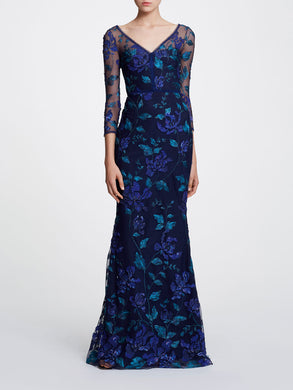 3/4 sleeve V-neck floral gown