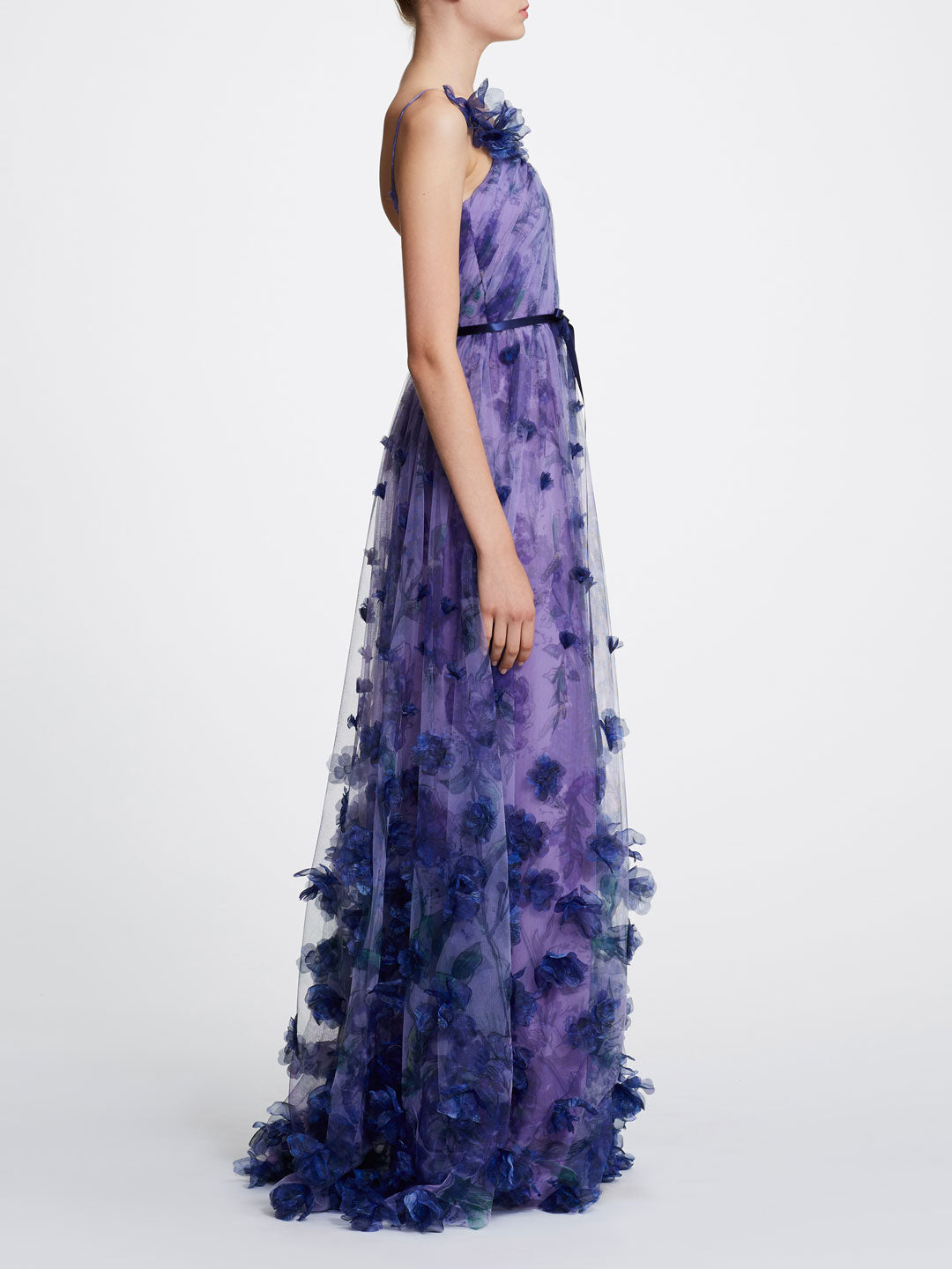 V-neck printed floral tulle gown