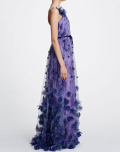 Load image into Gallery viewer, V-neck Printed Floral Tulle Gown
