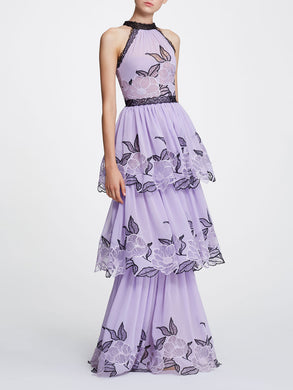 Sleeveless Floral Chiffon Tulle Gown