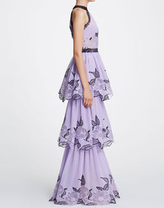 Load image into Gallery viewer, Sleeveless floral chiffon tulle gown