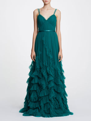 Sleeveless textured tulle gown