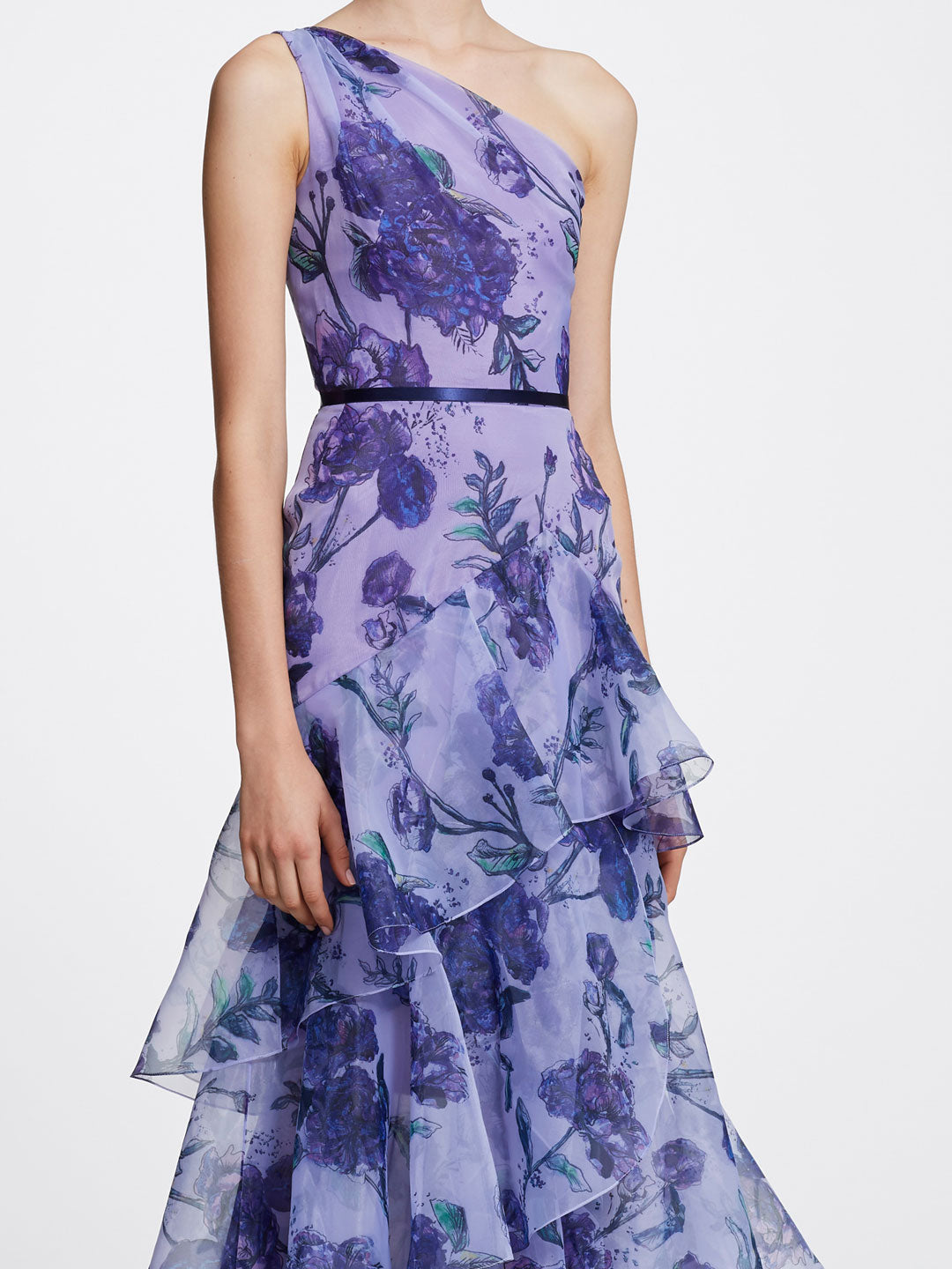 One-Shoulder Printed Floral Gown