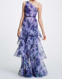 Load image into Gallery viewer, One Shoulder Printed Floral Gown