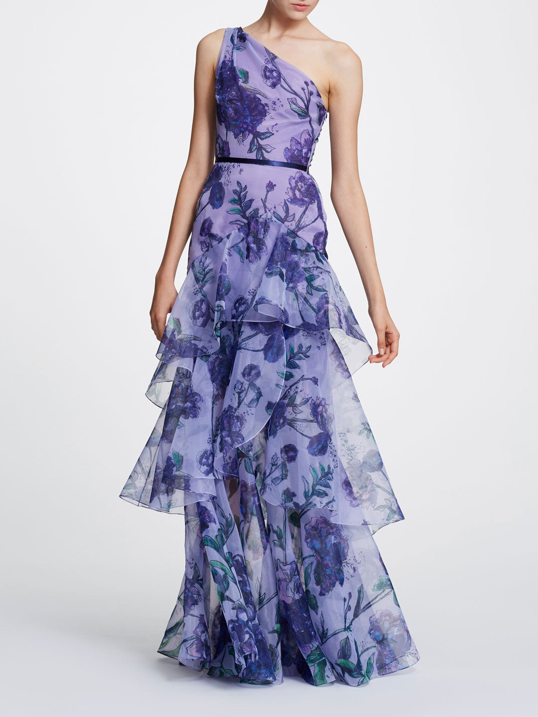 One Shoulder Printed Floral Gown