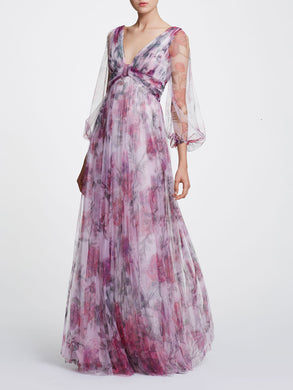 Bishop Sleeve V-Neckline Printed Gown