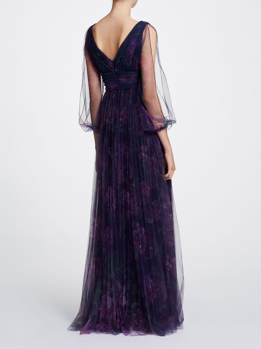 Bishop Sleeve V-neck Printed Gown
