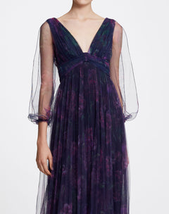 Load image into Gallery viewer, Bishop Sleeve V-neck Printed Gown