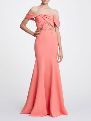 Off Shoulder Crepe Gown