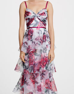 Load image into Gallery viewer, Sleeveless printed Tea-length gown