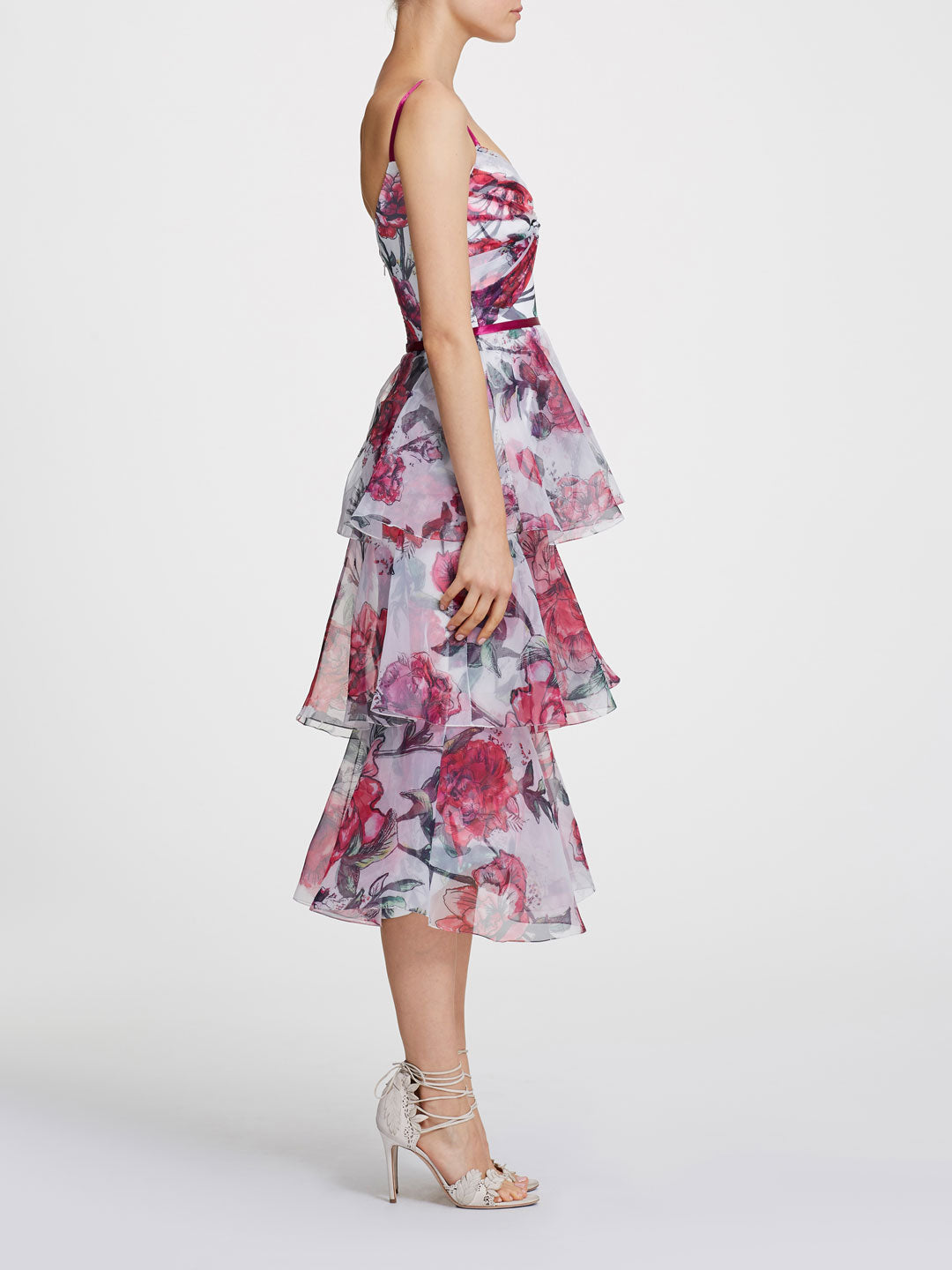 Sleeveless printed Tea-length gown