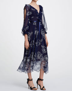 Load image into Gallery viewer, Long Sleeve Floral Tulle Chiffon Gown