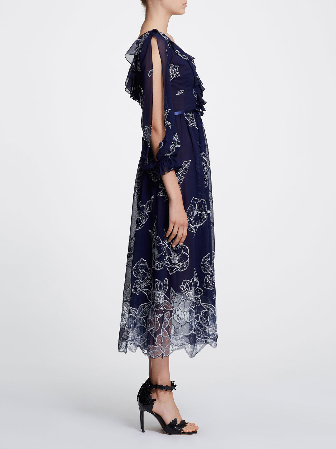 Long Sleeve Floral Tulle Chiffon Gown