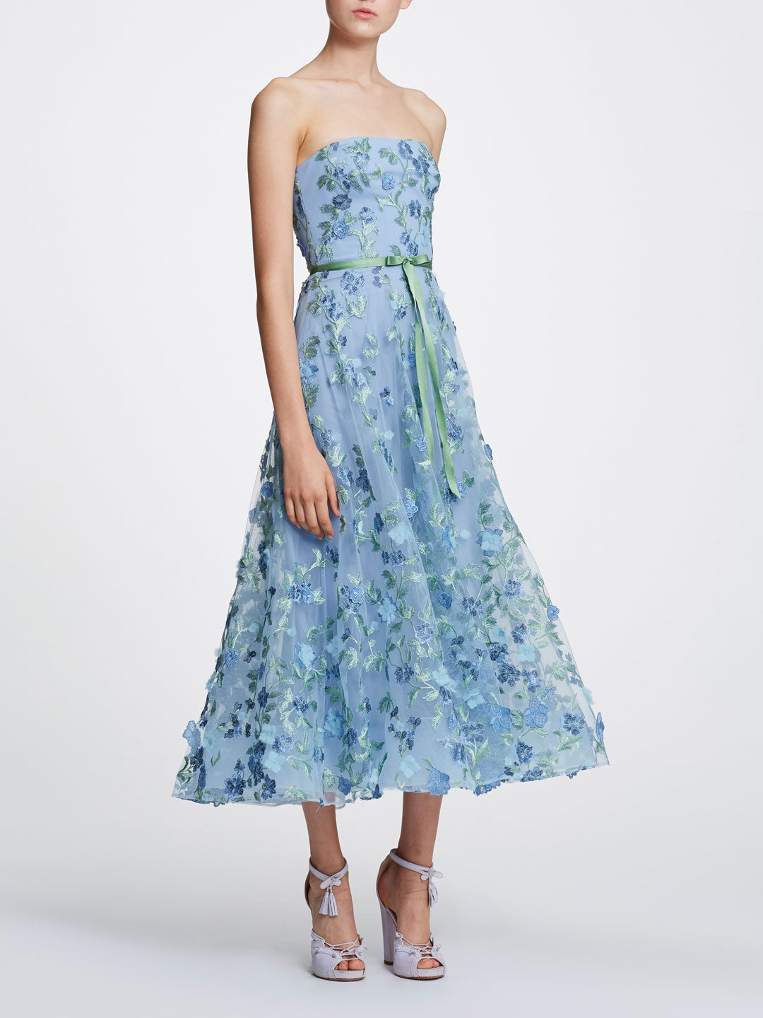 Strapless Embellished Tea-Length Gown