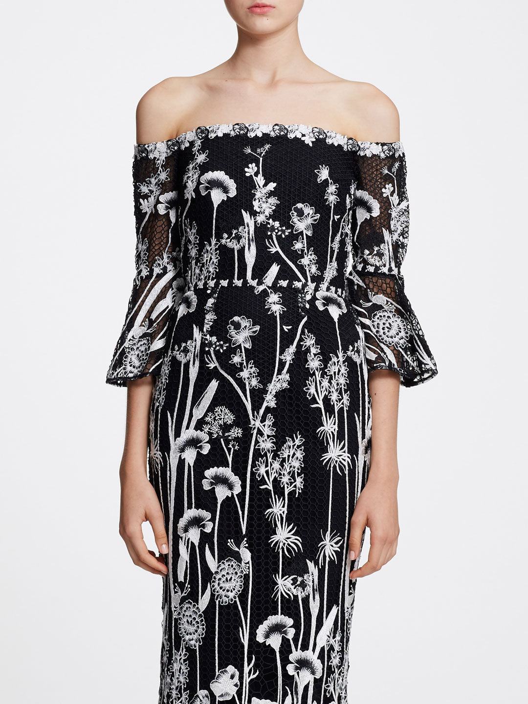 Off-the-Shoulder Guipure Tea-Length Gown