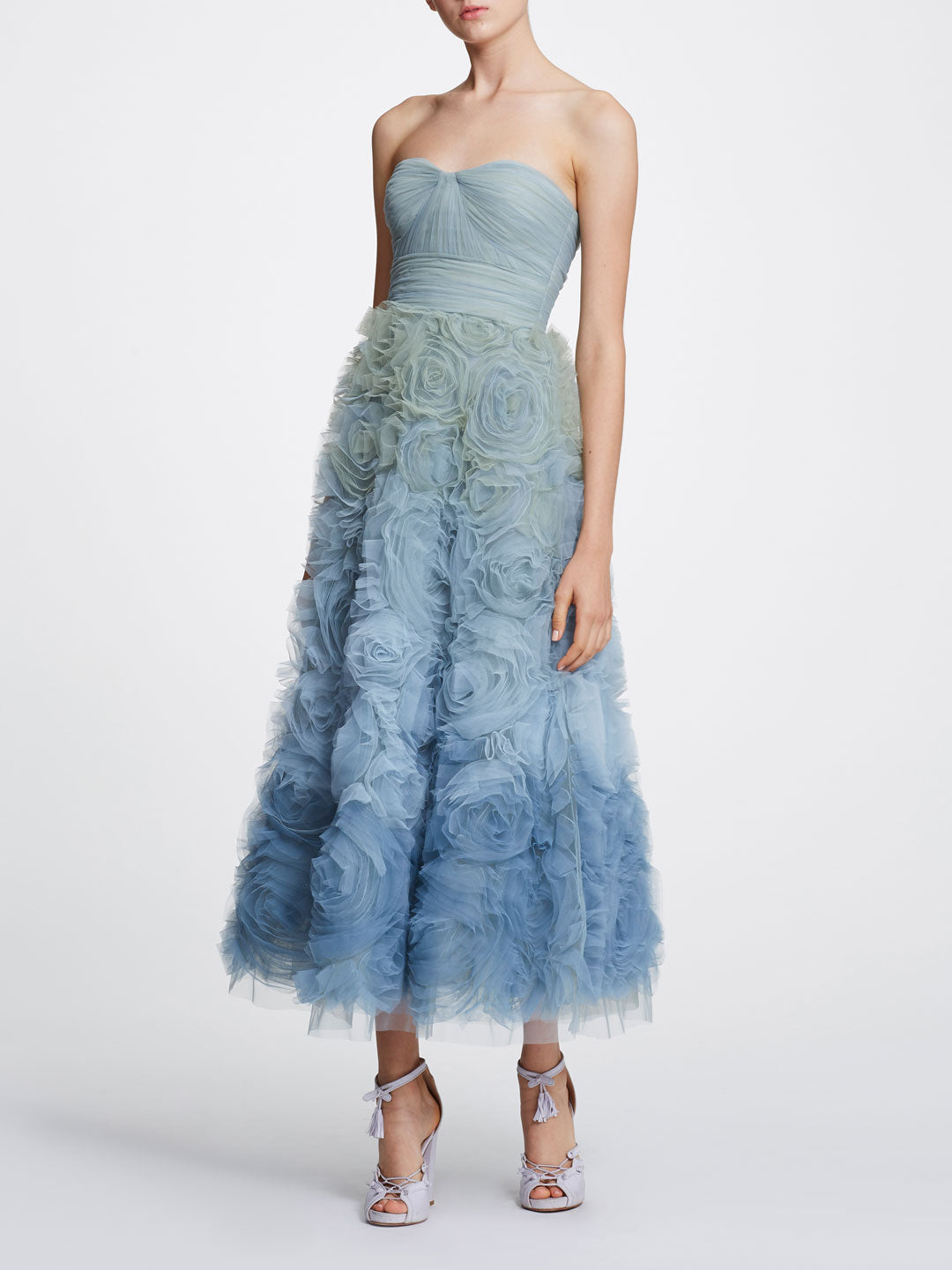 Strapless ombre tulle Tea-length