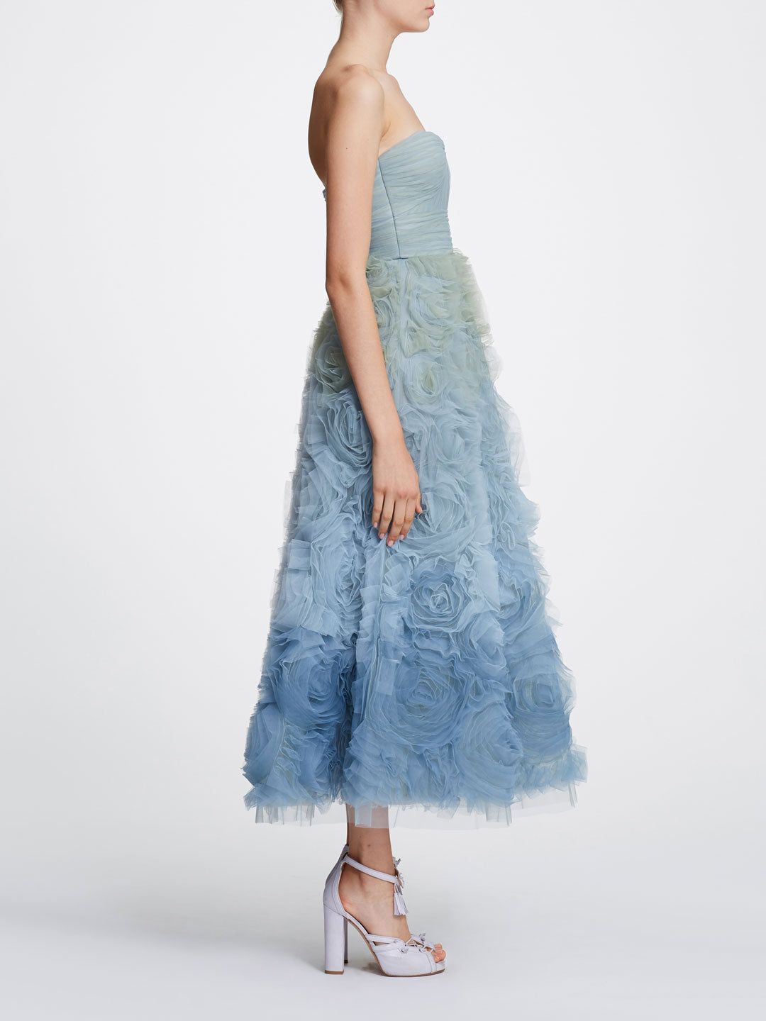 Strapless Ombre Tulle Tea-Length Gown