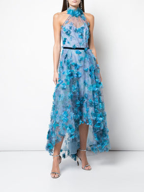 Halter-Neck High-Low Tea-Length Gown
