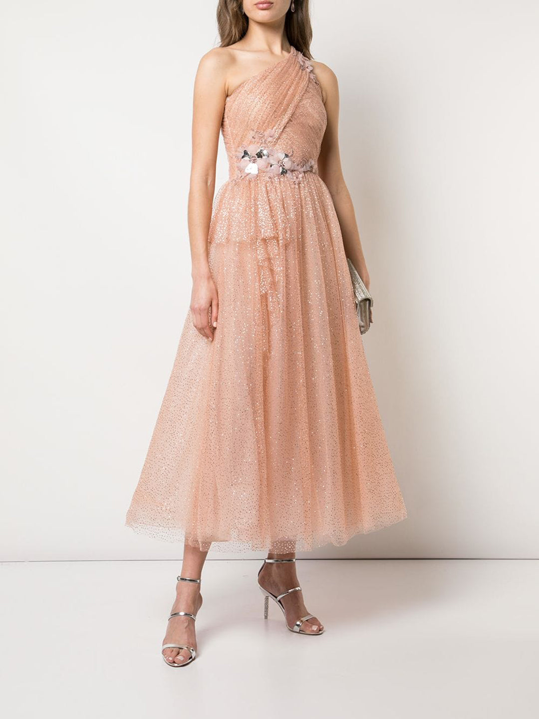 One Shoulder Glitter Tulle Dress