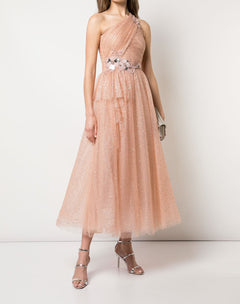 Load image into Gallery viewer, One Shoulder Glitter Tulle Dress