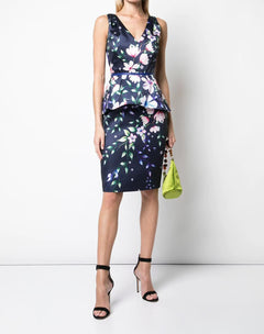 Load image into Gallery viewer, Printed Mikado Pique Cocktail Dress