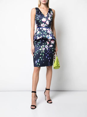Printed Mikado Pique Cocktail Dress